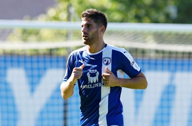 Ched Evans playing against Oxford United for Chesterfield in 2016  Picture: David Fleming