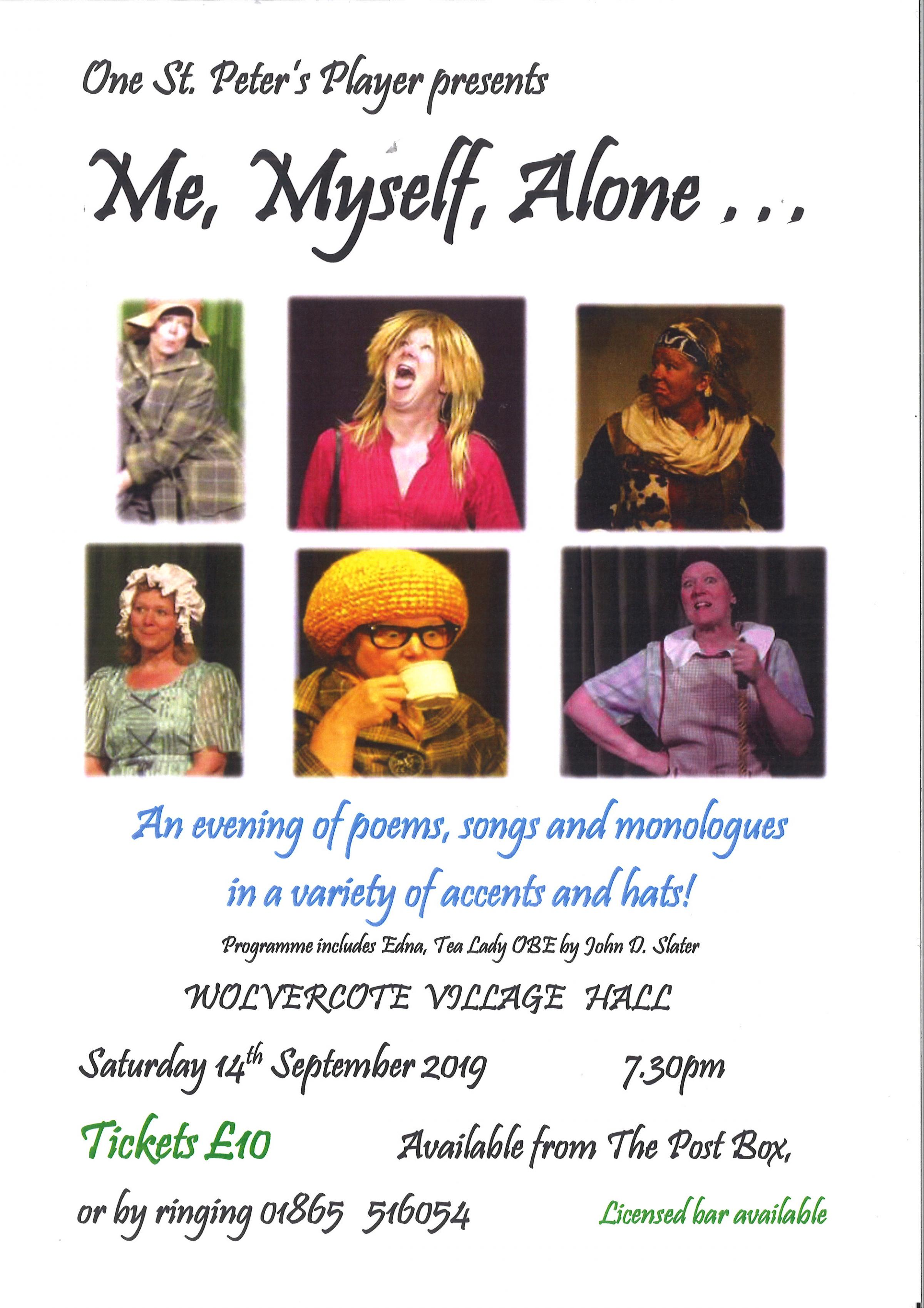 One St Peter's Player presents - Me, Myself, Alone...