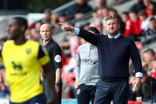 Oxford United boss Karl Robinson on the touchline at Fleetwood Town  Picture: Robbie Jay Barratt
