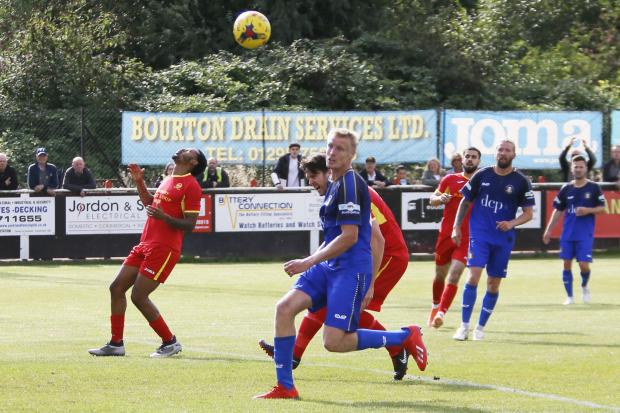 Banbury United's two-goal hero Jaanai Gordon (left) is frustrated as a chance goes beggingPictures: Ed Nix
