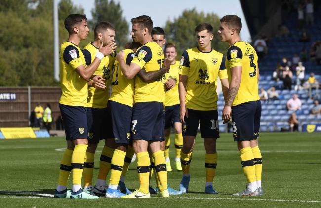 Oxford United celebrate James Henry's first goal for Oxford United against Tranmere Rovers  Picture: David Fleming