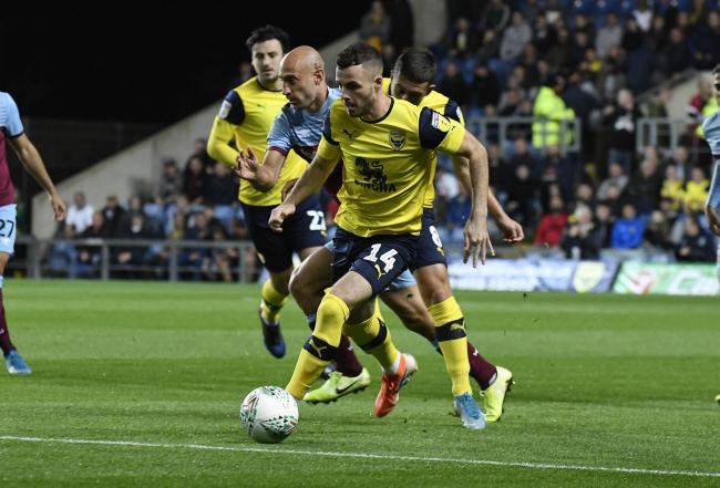 Anthony Forde in action during Oxford United's victory against West Ham United in last season's Carabao Cup run to the quarter-finals      Picture: David Fleming