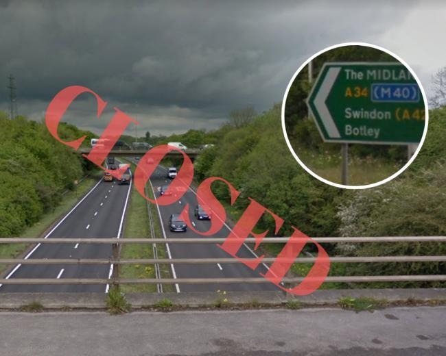 A34 northbound to close from 8pm tonight until 5.30pm Monday