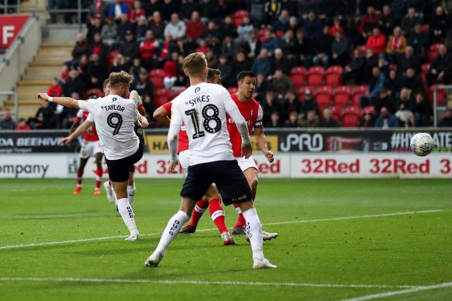 Matty Taylor heads in Oxford United's winner at Rotherham United   Picture: James Williamson
