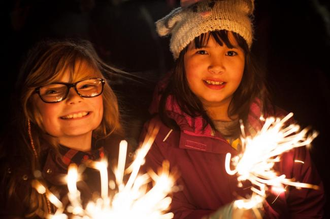 File photo of two girls at Oxford South park fireworks last year.