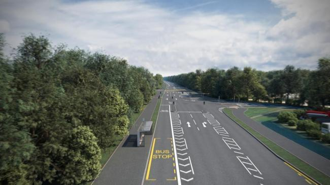 Proposed Cassington junction looking east as part of the A40 upgrades. Picture: Oxfordshire County Council.