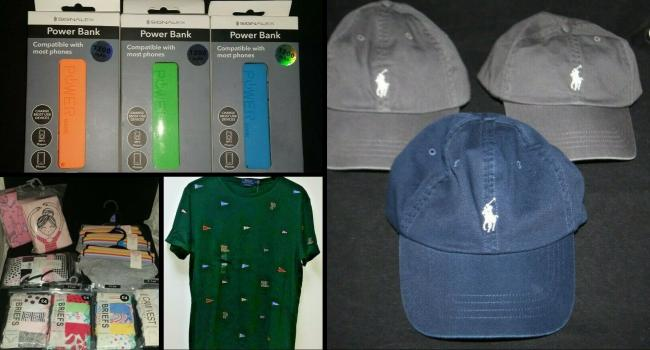 Police are selling a three pack of portable charges, Ralph Lauren hats, a T-shirt with a large hole in and packs of knickers for children on eBay this week. Pics from TVP eBay