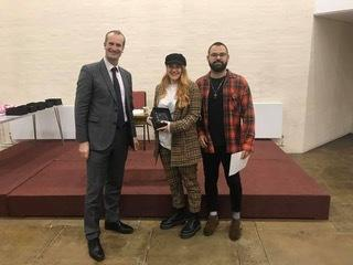 L-R: Dan Knowles (Oxfordshire Mind CEO); Maisie Kingston (Manager, Eynsham Barbershop); James Talbot (Owner, Eynsham Barbershop) Picture: Eynsham Barbershop