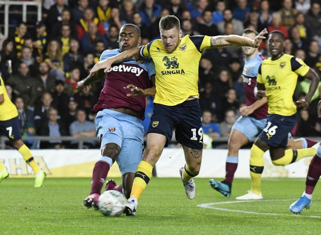 Jamie Mackie in action during the 4-0 win over West Ham United in September. The striker says Oxford United's players can take confidence from that game against Newcastle United today Picture: David Fleming