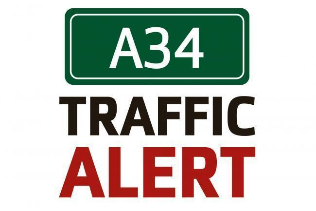 Traffic now easing after crash causes 5 mile tailback on A34
