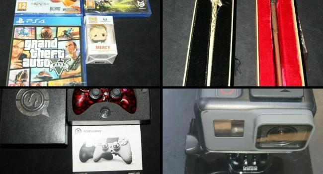 This week police are selling on eBay a (Top left clockwise): A bundle of games, a harry potter wand, a go proo and a gaming controller