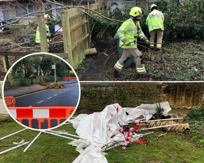 Oxfordshire Fire and Rescue Service shared photos of fallen trees and a broken wall