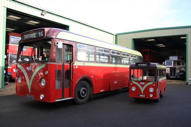 The 1960 AEC Reliance (756 KFC) with its model. Picture: Oxford Bus Museum