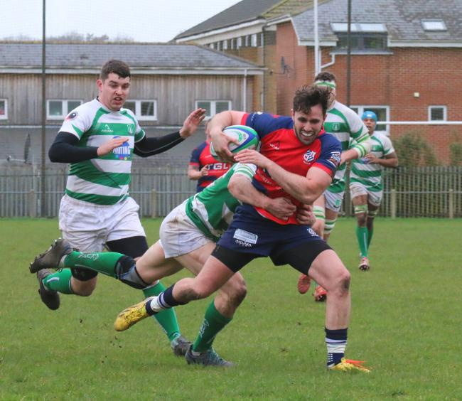 Joe Mills is tackled during Banbury Bulls' 31-12 triumph at SalisburyPicture: Simon Grieve
