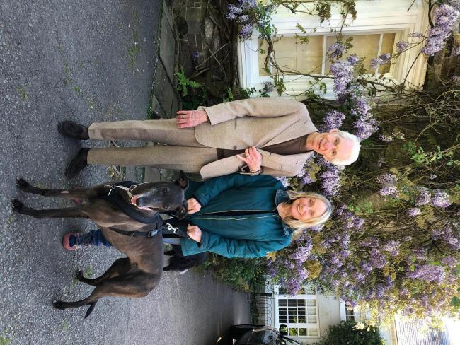 Charlie Watts and his wife Shirley with their rescue greyhound Suzie. Pic by John Bett