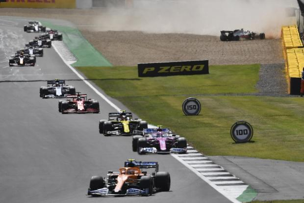 Kevin Magnussen crashes out for Haas on the opening lap of the British Grand Prix  Picture: Ben Stansall/AP