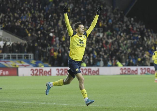 Nathan Holland celebrates his strike for Oxford United against Newcastle United   Pictures: David Fleming