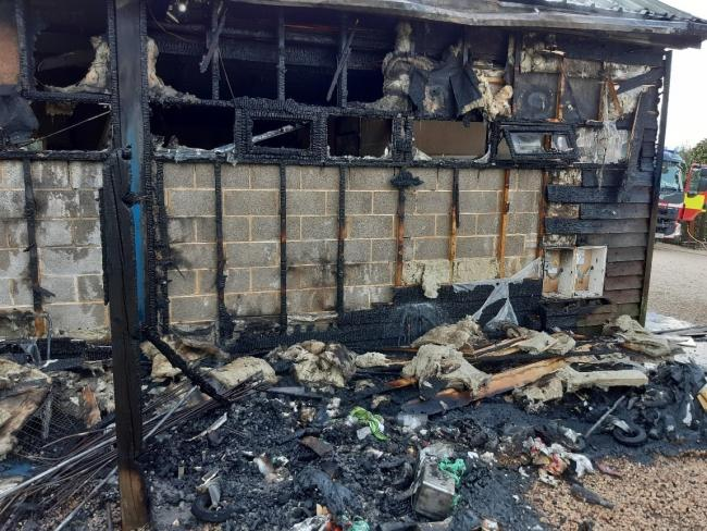 Painters workshop badly damage in blaze