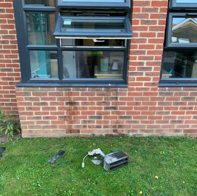 Toaster bursts into flames at student halls