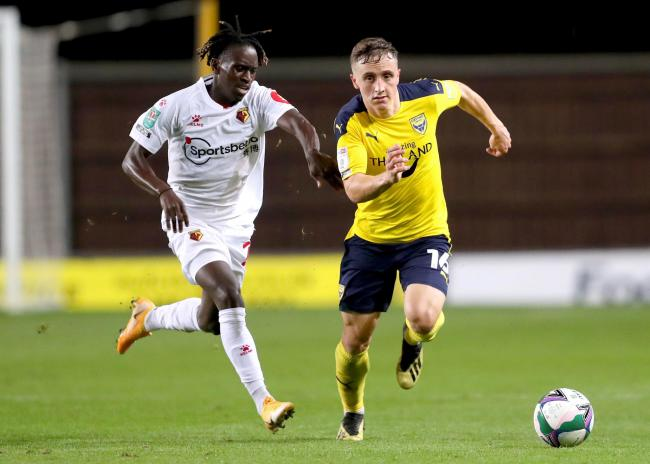 Joel Cooper on the attack for Oxford United against Watford   Picture: David Fleming