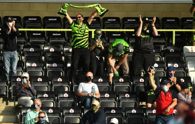 Supporters at Forest Green Rovers celebrate a goal during their test event on Saturday   Picture: Jacob King/PA Wire