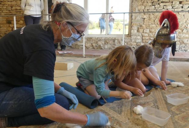 Witney Gazette: Mosaics at North Leigh Roman Villa were given a special deep clean. Picture: North Leigh Roman Villa Volunteers