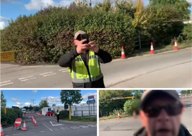Screenshots from Auditing Britain YouTube video of security guard at Oxford Parkway Park and Ride Coronavirus test centre