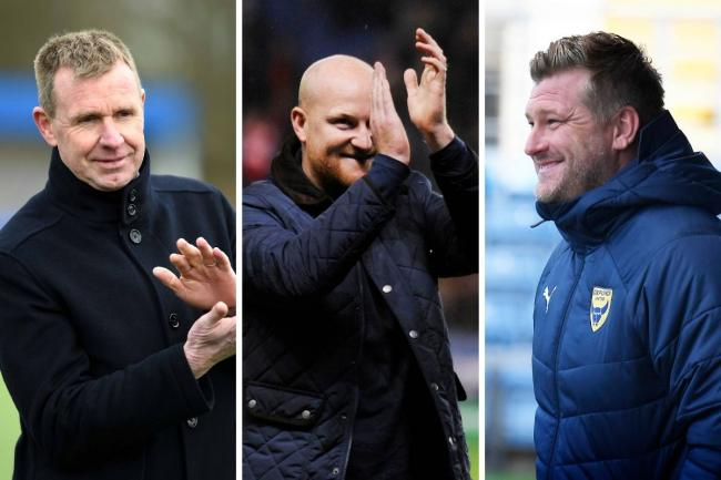 There will be three Oxfordshire clubs in the FA Cup first round draw tonight. Oxford City's David Oldfield (left) and Banbury United's Andy Whing (centre) are in the hat with Karl Robinson's Oxford United Pictures: Mike Allen and David Fleming