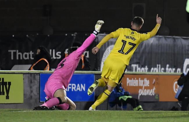 James Henry celebrates after giving Oxford United the lead in their last meeting against Forest Green Rovers in November 2018 Picture: David Fleming