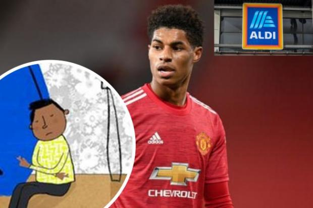 Witney Gazette: Marcus Rashford has teamed up with Aldo to help tackle child poverty. (PA/Aldi/Canva)