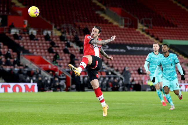 Southampton's Danny Ings (centre) scores against Liverpool