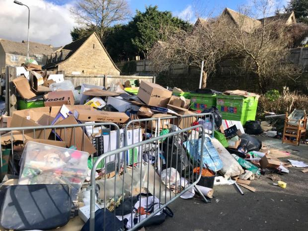 Witney Gazette: Fly-tipping at Chipping Norton recycling point. Picture: Ed Nix