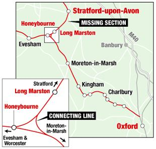 The route being considered for reopening to link Oxfordshire and Stratford-upon-Avon