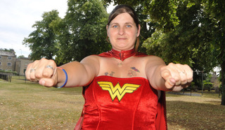 Samantha Haynes, one of the 'fathers', in her Wonder Woman outfit