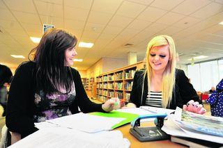 Students Emma Slater, left, and Lily Claridge at Ruislip Manor Library
