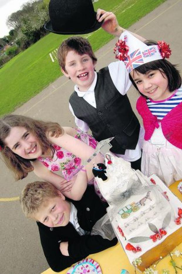 Pupils at St Michael's School, Marston, celebrate the royal wedding