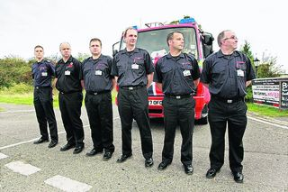 Eynsham firefighters gather at the Evenlode