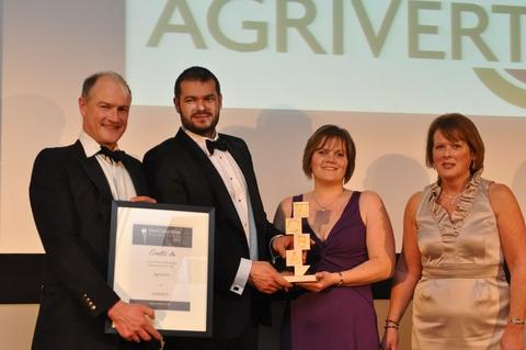 Witney Gazette: Winners: Left to right: Alexander Maddan, Chris Woolcock and Pamela Hawes of Agrivert with Maggie Bradley of sponsor Coutts