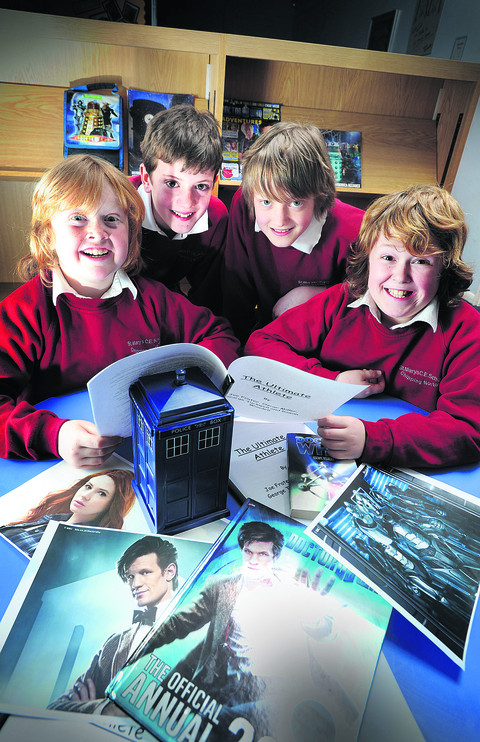 St Mary's CofE Primary School pupils, from left, George Tuckwell, Joe Frater, Rowan Woodell and Oscar Miller, all 11, with their Doctor Who script