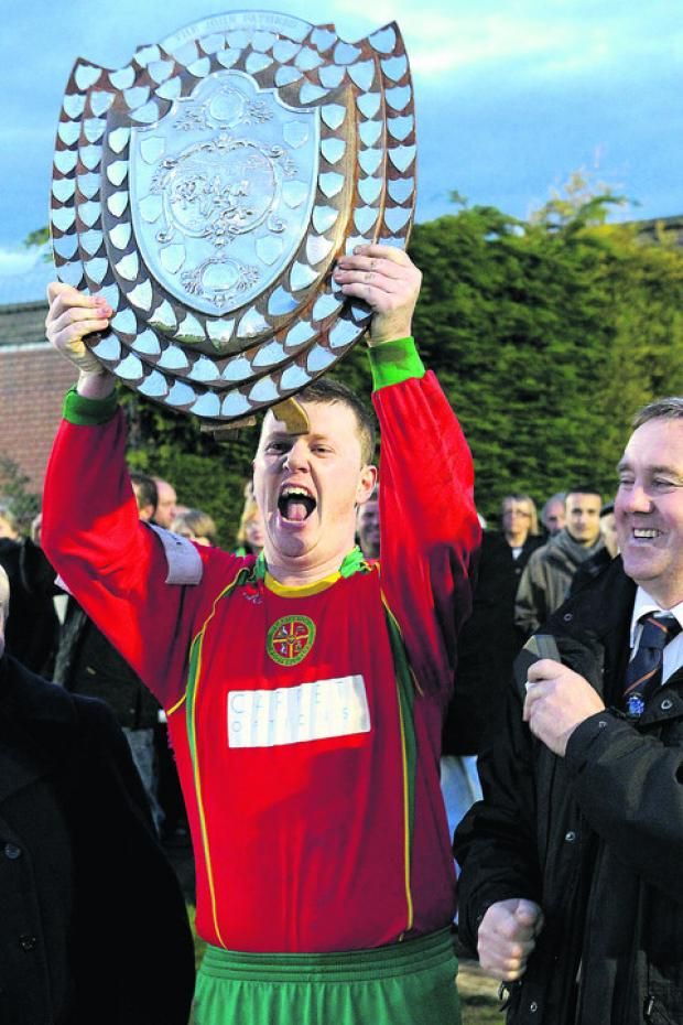 Carterton A celebrate after beating Chipping Norton Swifts 4-2 to lift the John Fathers Oxfordshire Shield      Picture: Ric Mellis