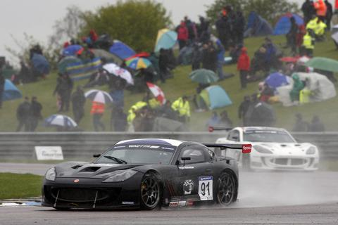 Chipping Norton's Fergus Walkinshaw battles it out in the wet at Thruxton in the Michelin GT Super Cup last weekend