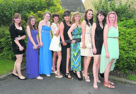 Kelly Pearson, Katie Roberts, Aurnia McCarthy, Sarah Heppell, Chloe Scarlett, Olivia Lawler, Emma Errante, Sarah Leathel and Anna Langan at the St Gregory the Great School prom