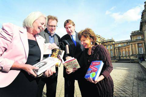 Festival deputy chairman Jill Dunsmore, left, with husband-and-wife authors Ross, second from left, and Melanie King, and chief executive of Blenheim Palace John Hoy