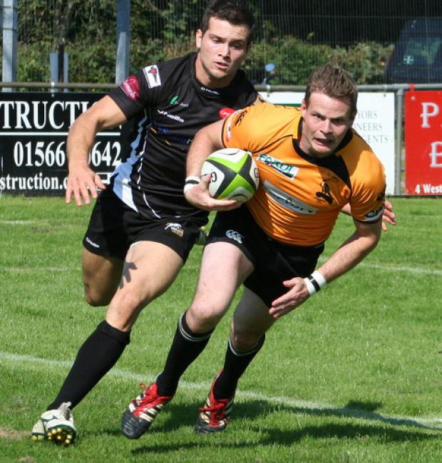 Tom Gray, seen here scoring a try in Chinnor's 33-29 victory at Launceston on the opening day, misses the trip to Bournemouth due to work commitments