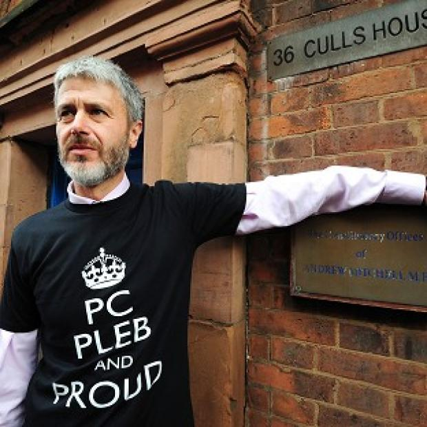 Simon Payne of of Warwickshire Police Federation outside the constituency offices of MP Andrew Mitchell
