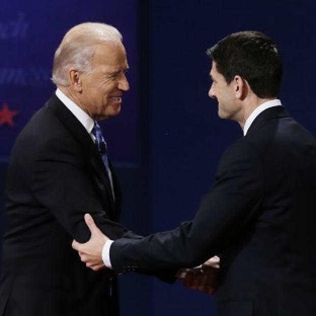 Vice president Joe Biden and Republican vice presidential nominee Paul Ryan after the vice presidential debate (AP/Mark Humphrey)