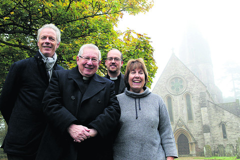 From left, Sir Christopher Codrington, project chairman, director the Rev Dr Brian Ford, vicar the Rev Paul Mansell and secretary Dr Jeanette Cayley at St Michael and All Angels' Church, Leafield