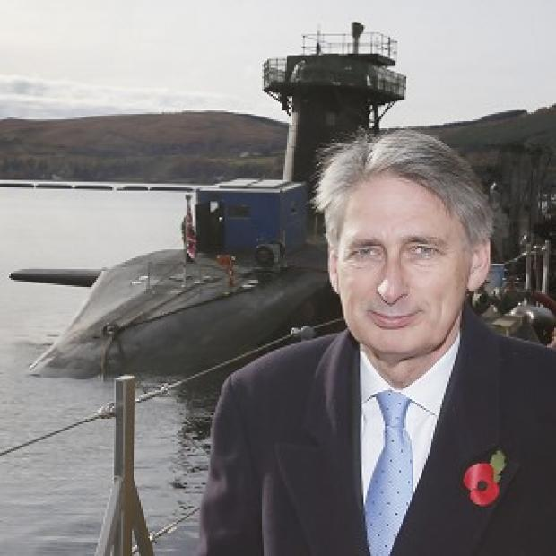 Defence Secretary Philip Hammond visited the HMS Victorious at HM Naval Base Clyde in Scotland