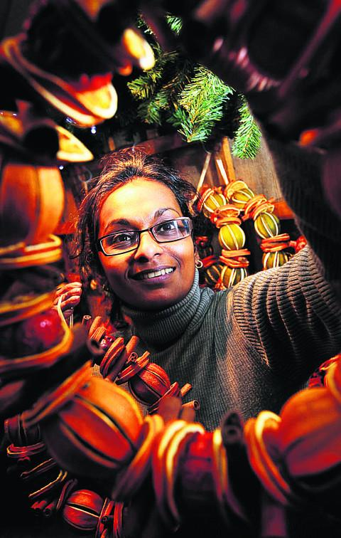 Malathi Armitt with some of her unusual wreaths