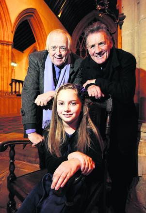 Erin Brewer with Sir Tim Rice and Michael Palin
